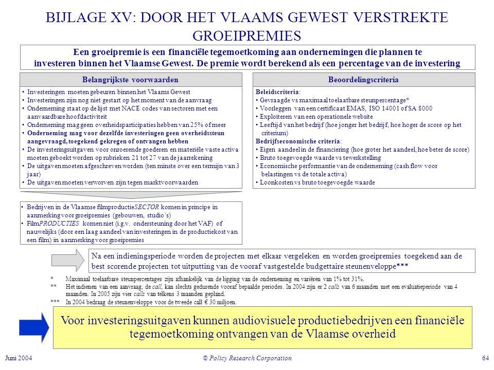 BIJLAGE XV: DOOR HET VLAAMS GEWEST VERSTREKTE GROEIPREMIES