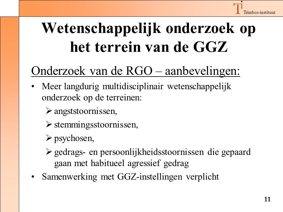Wetenschappelijk onderzoek op het terrein van de GGZ