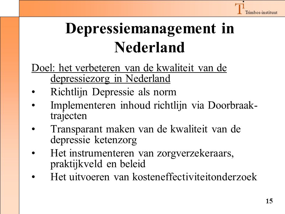 Depressiemanagement in Nederland