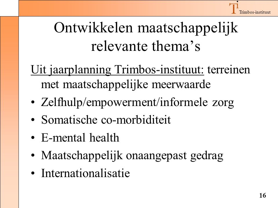 Ontwikkelen maatschappelijk relevante thema's