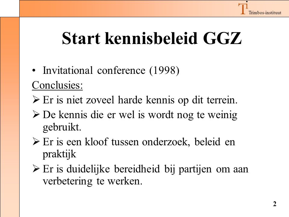Start kennisbeleid GGZ