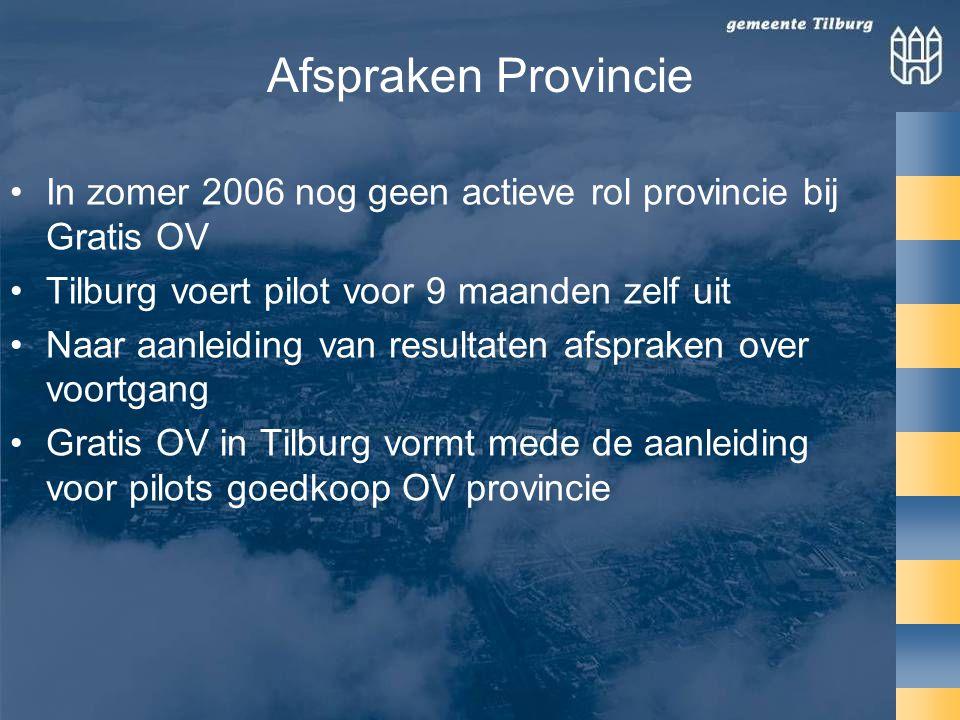 Afspraken Provincie In zomer 2006 nog geen actieve rol provincie bij Gratis OV. Tilburg voert pilot voor 9 maanden zelf uit.