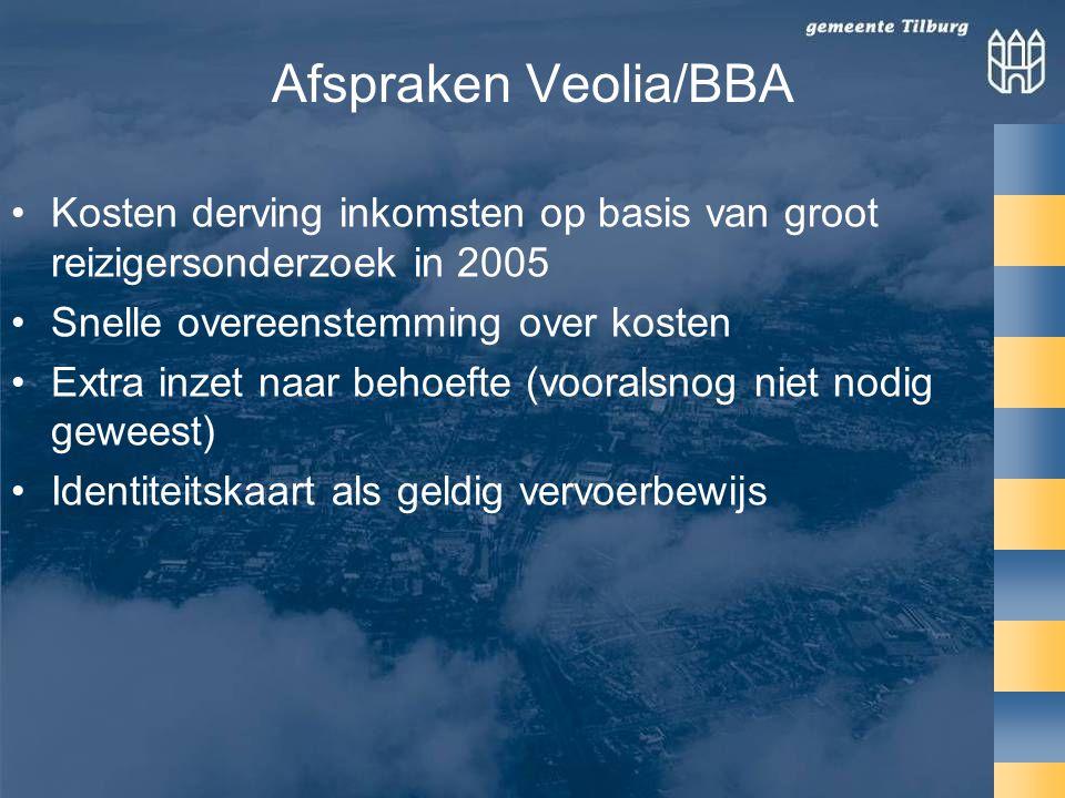 Afspraken Veolia/BBA Kosten derving inkomsten op basis van groot reizigersonderzoek in 2005. Snelle overeenstemming over kosten.