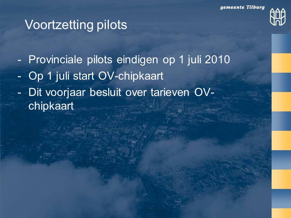 Voortzetting pilots Provinciale pilots eindigen op 1 juli 2010