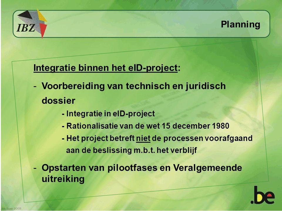 Planning Integratie binnen het eID-project: