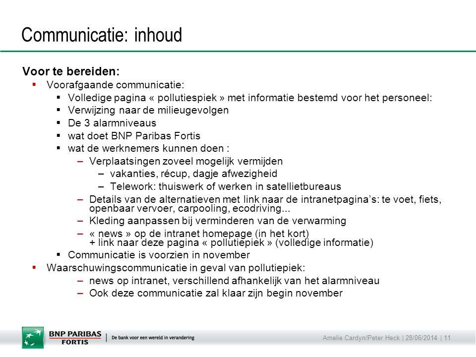 Communicatie: inhoud Voor te bereiden: Voorafgaande communicatie: