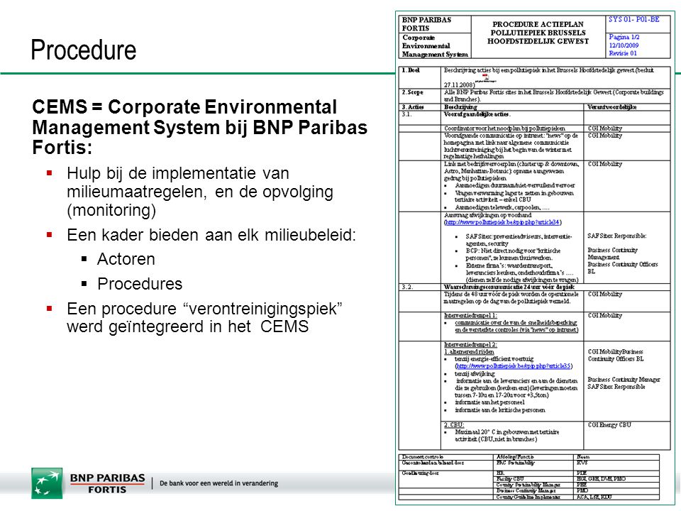 Procedure CEMS = Corporate Environmental Management System bij BNP Paribas Fortis: