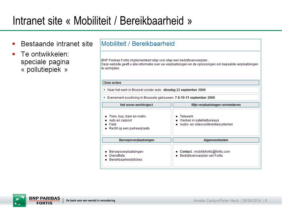 Intranet site « Mobiliteit / Bereikbaarheid »