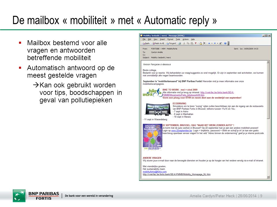 De mailbox « mobiliteit » met « Automatic reply »