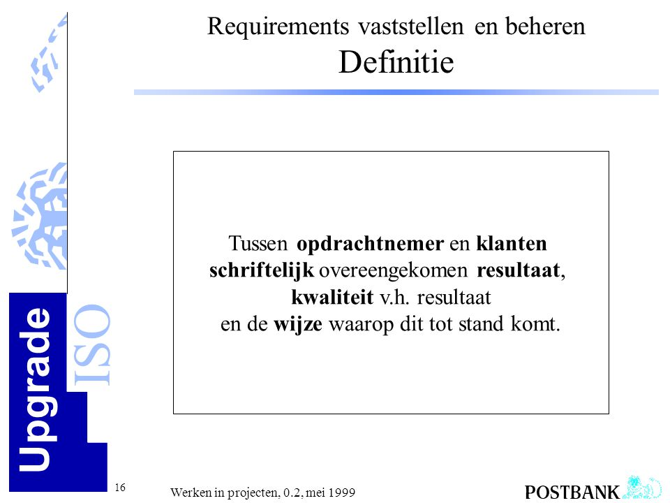 Requirements vaststellen en beheren Definitie