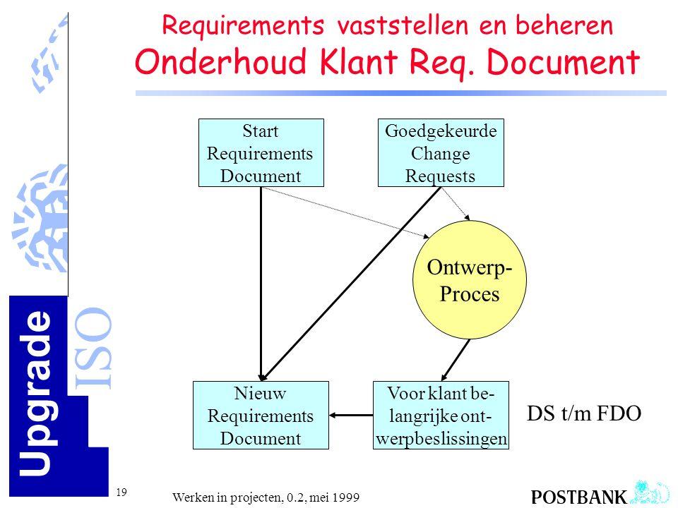 Requirements vaststellen en beheren Onderhoud Klant Req. Document