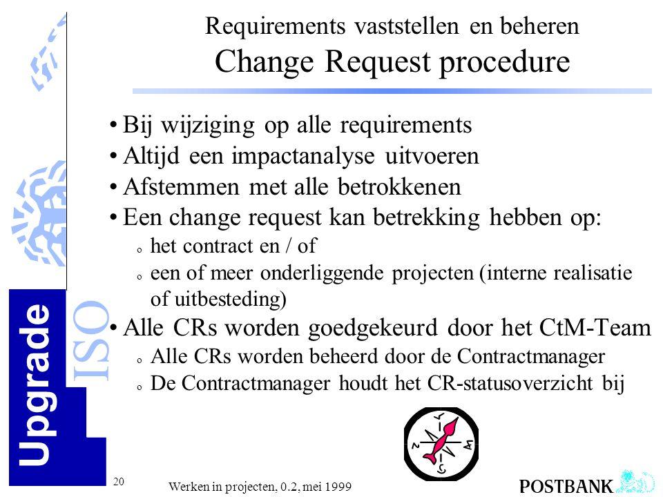 Requirements vaststellen en beheren Change Request procedure