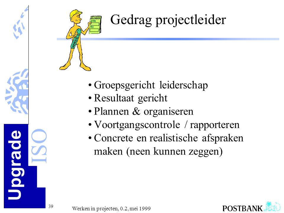 Gedrag projectleider Groepsgericht leiderschap Resultaat gericht