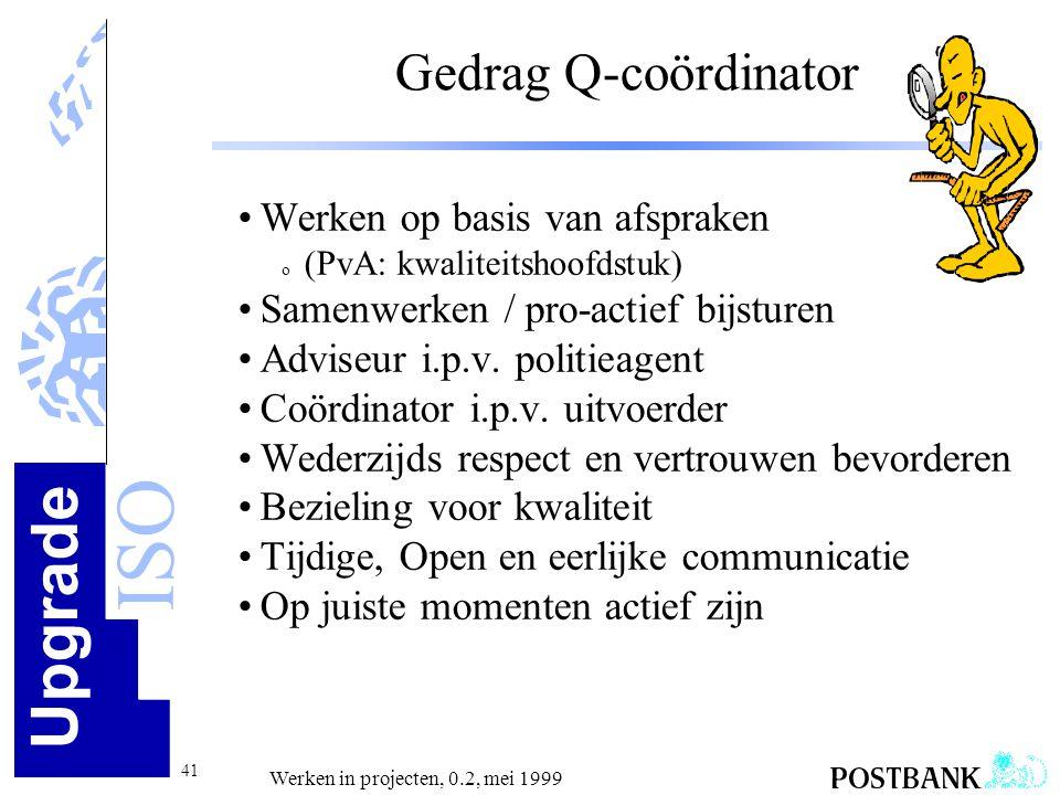Gedrag Q-coördinator Werken op basis van afspraken