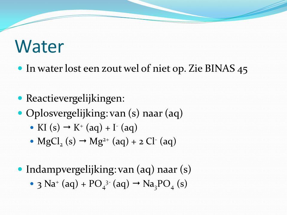 Water In water lost een zout wel of niet op. Zie BINAS 45
