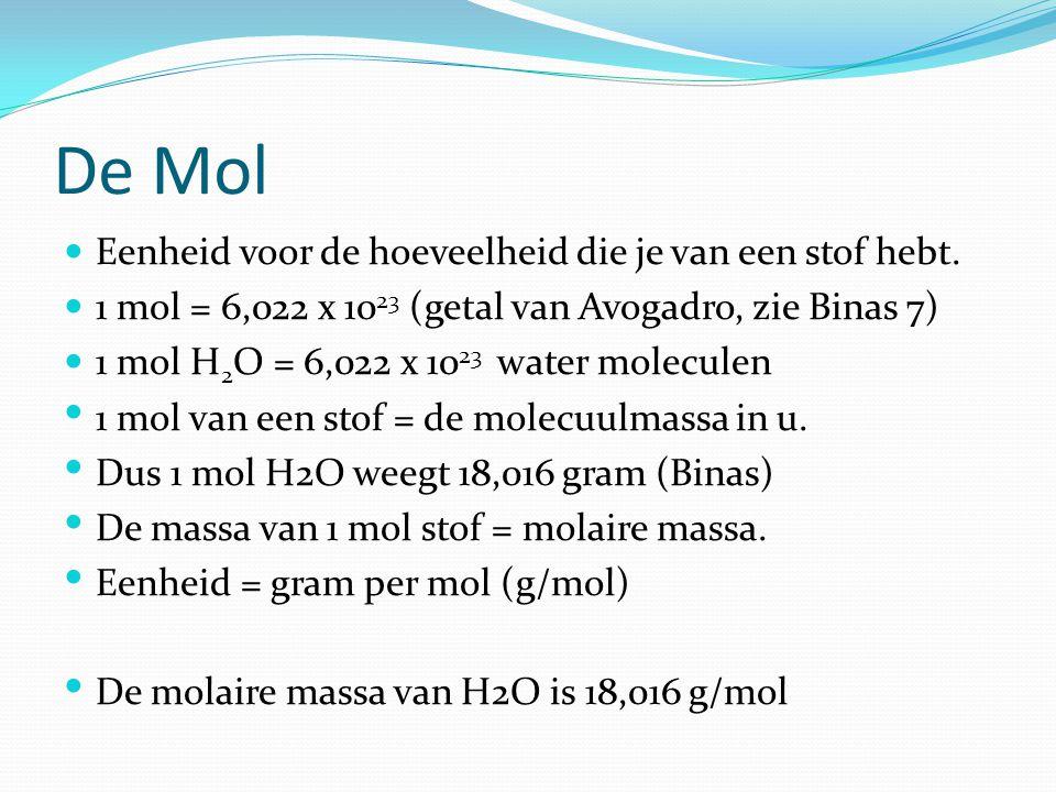 De Mol Eenheid voor de hoeveelheid die je van een stof hebt.