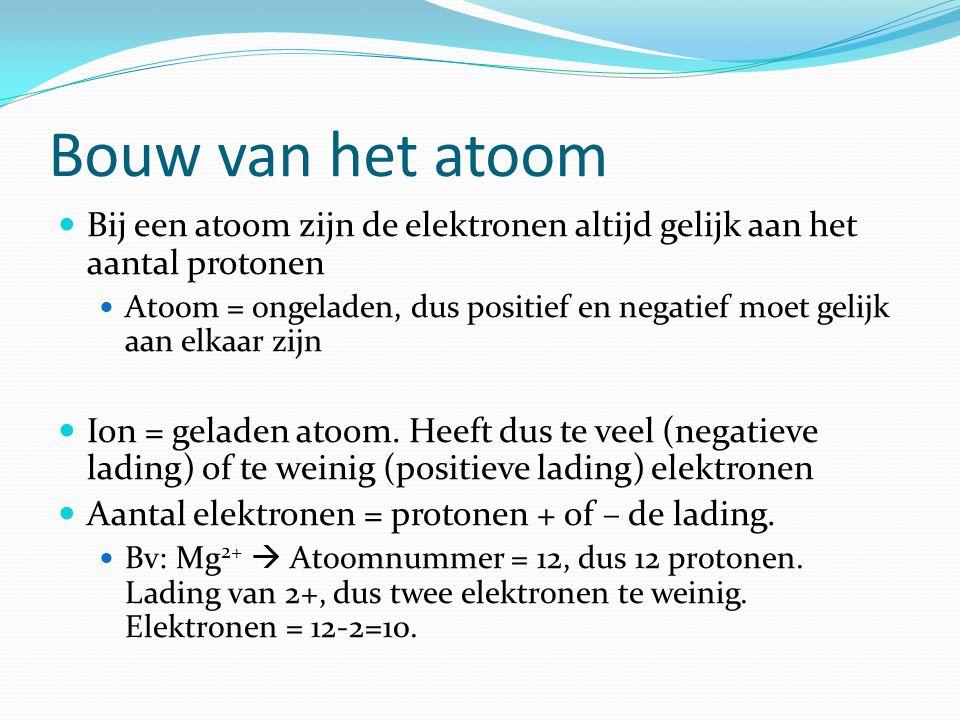 Bouw van het atoom Bij een atoom zijn de elektronen altijd gelijk aan het aantal protonen.