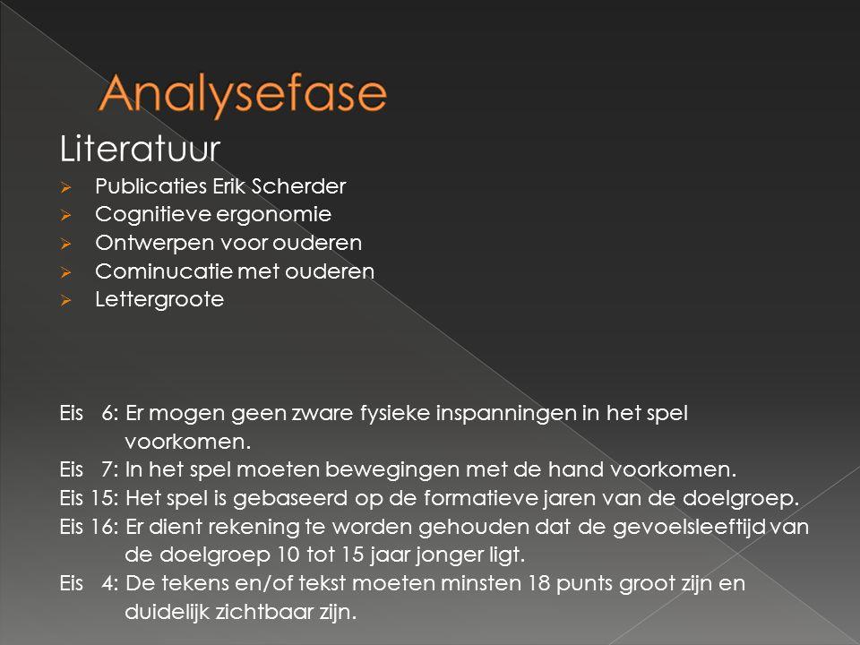 Analysefase Literatuur Publicaties Erik Scherder Cognitieve ergonomie