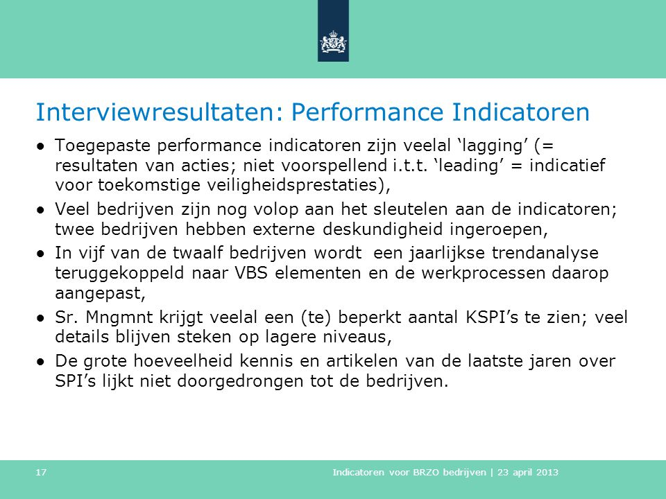 Interviewresultaten: Performance Indicatoren