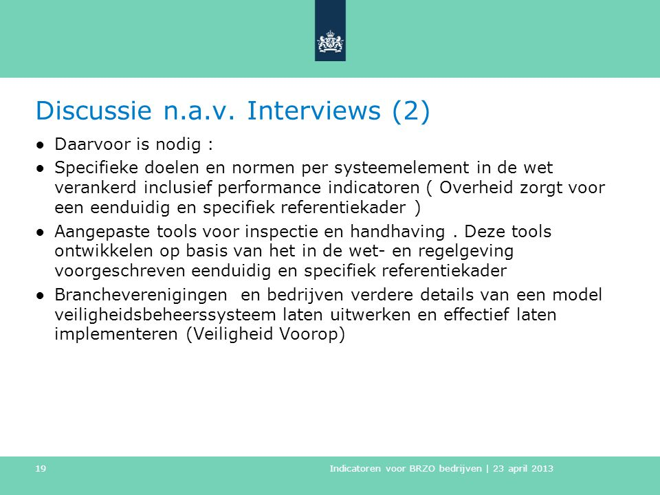 Discussie n.a.v. Interviews (2)