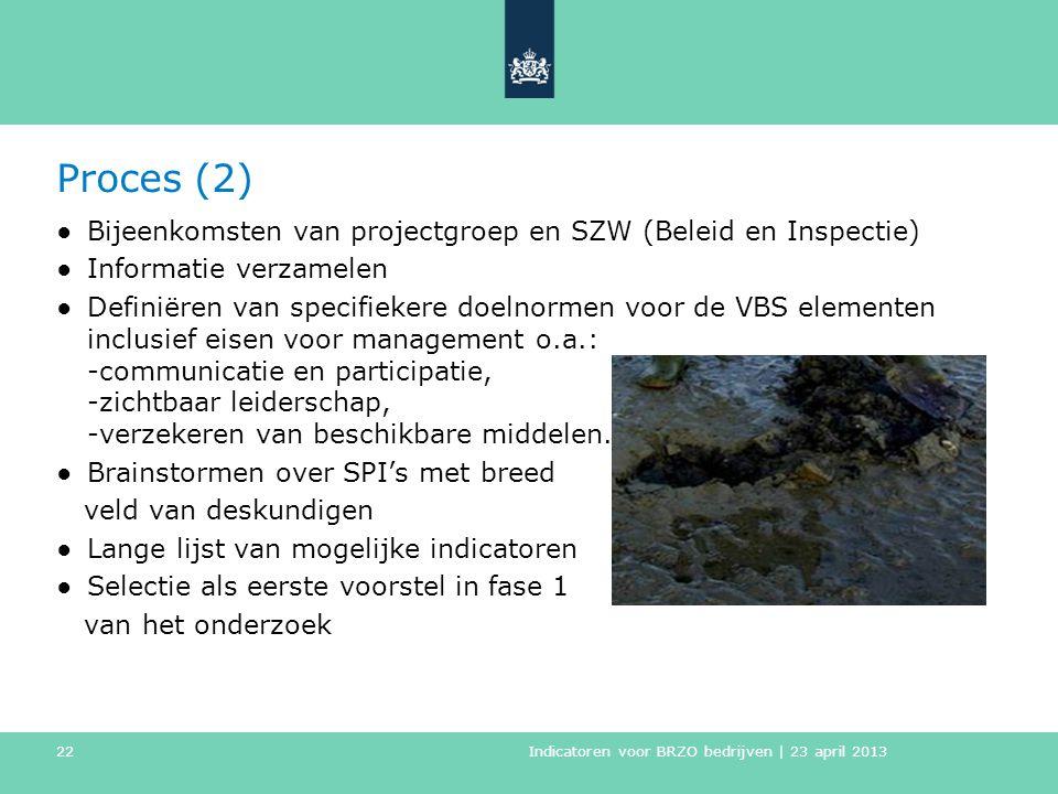 Proces (2) Bijeenkomsten van projectgroep en SZW (Beleid en Inspectie)