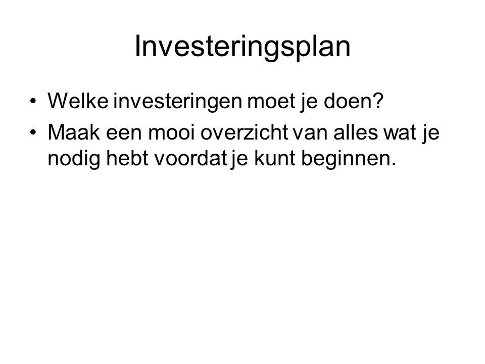 Investeringsplan Welke investeringen moet je doen