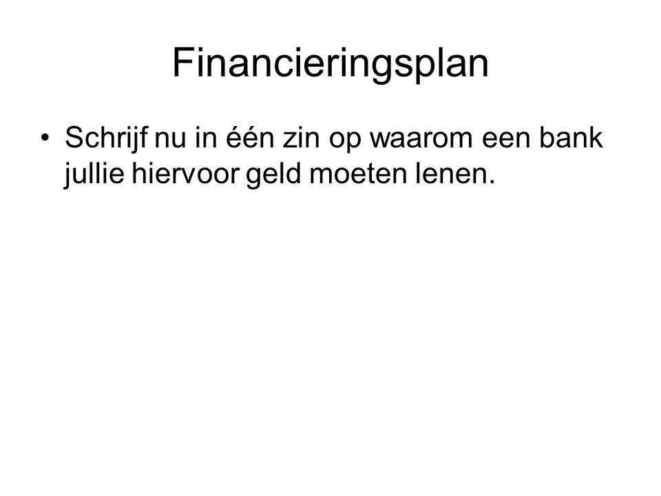 Financieringsplan Schrijf nu in één zin op waarom een bank jullie hiervoor geld moeten lenen.