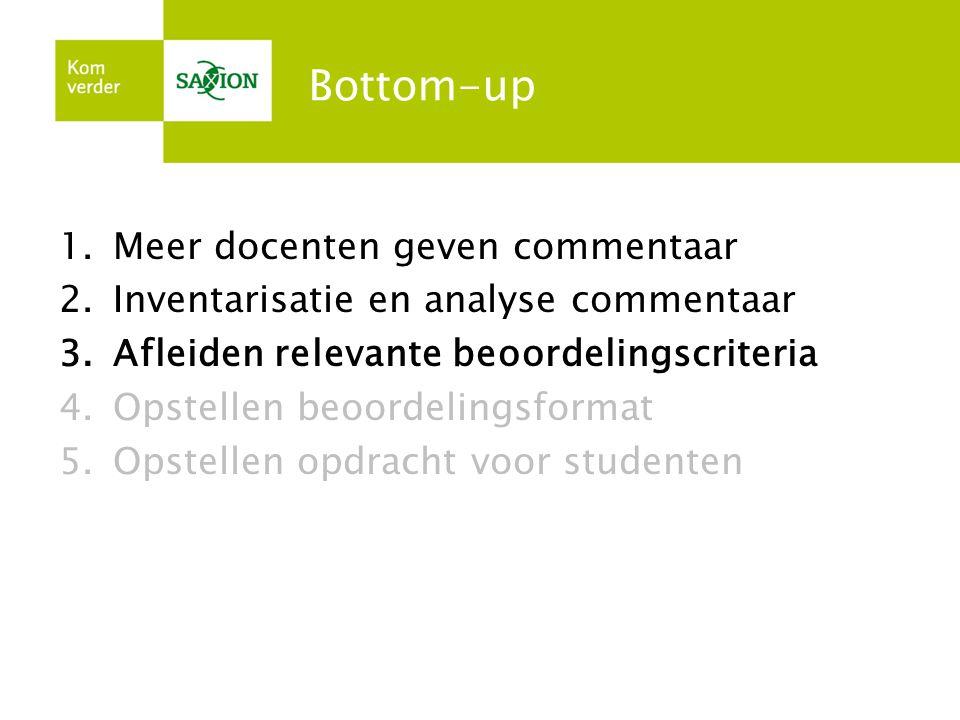 Bottom-up Meer docenten geven commentaar