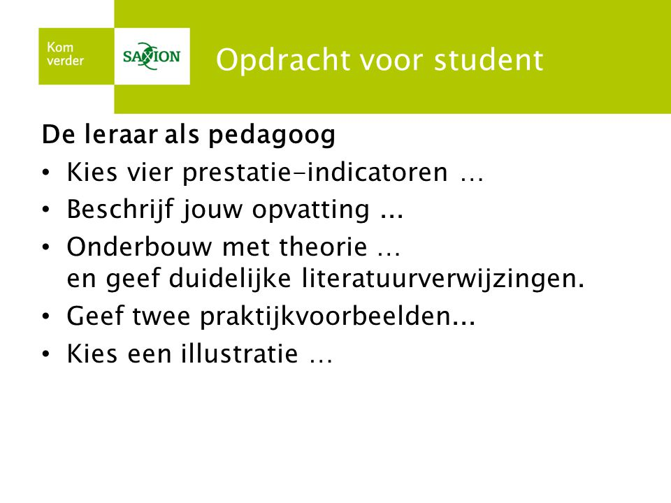 Opdracht voor student De leraar als pedagoog