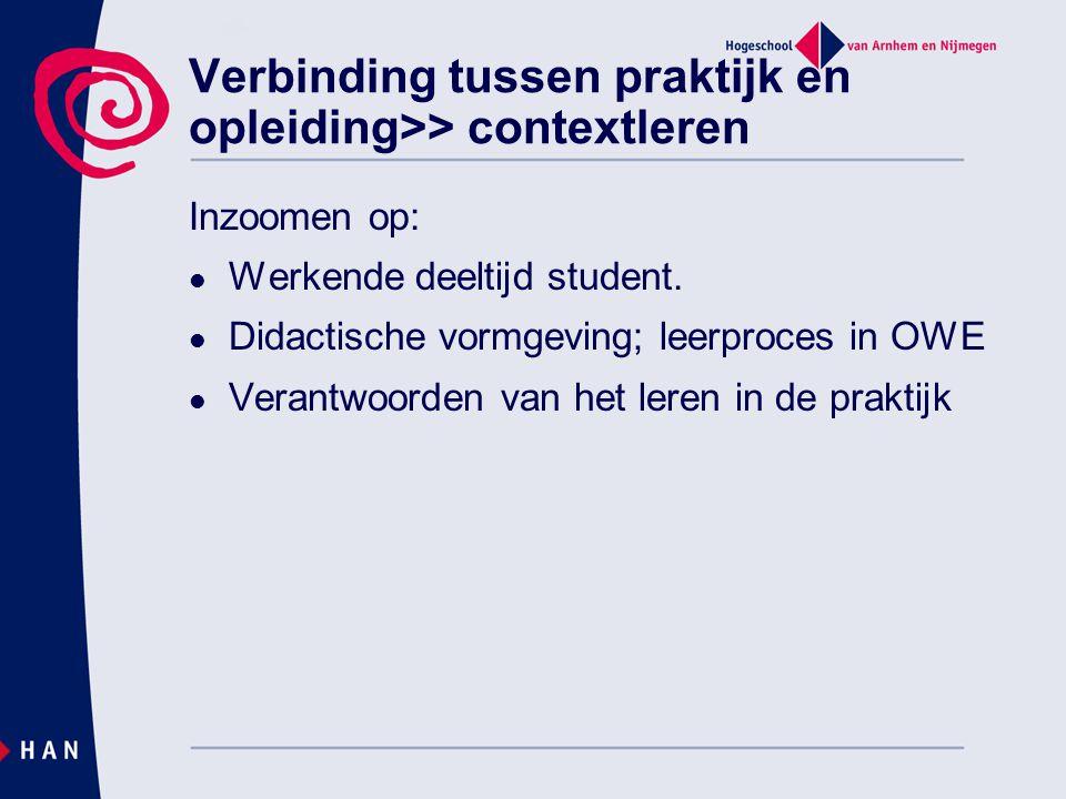 Verbinding tussen praktijk en opleiding>> contextleren