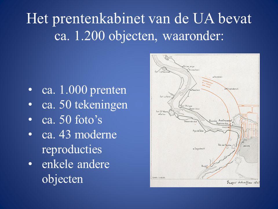 Het prentenkabinet van de UA bevat ca. 1.200 objecten, waaronder: