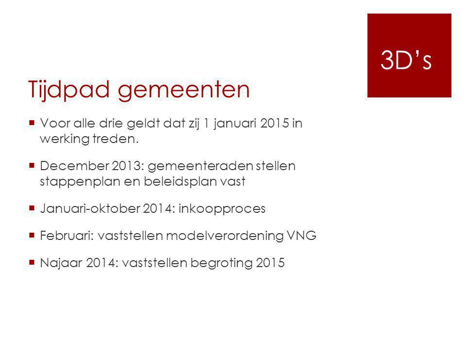 3D's Tijdpad gemeenten. Voor alle drie geldt dat zij 1 januari 2015 in werking treden.