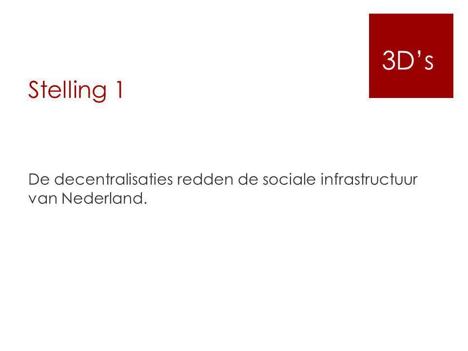 3D's Stelling 1. De decentralisaties redden de sociale infrastructuur van Nederland.