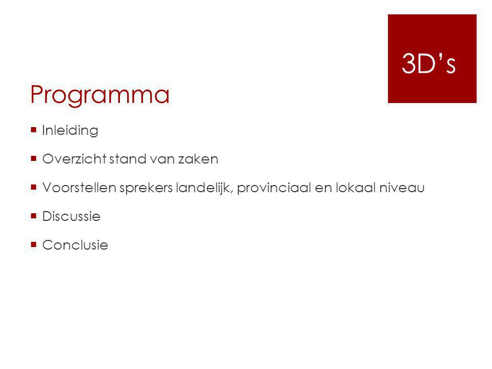 3D's Programma Inleiding Overzicht stand van zaken