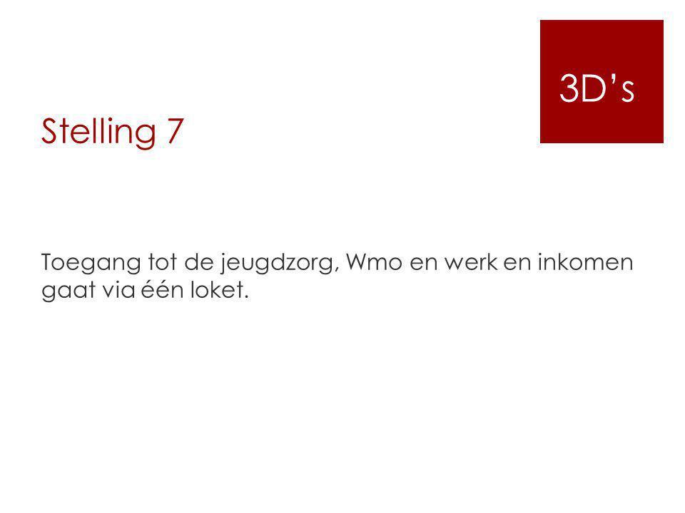 3D's Stelling 7. Toegang tot de jeugdzorg, Wmo en werk en inkomen gaat via één loket.