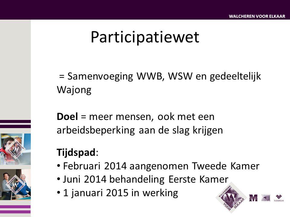 Participatiewet = Samenvoeging WWB, WSW en gedeeltelijk Wajong