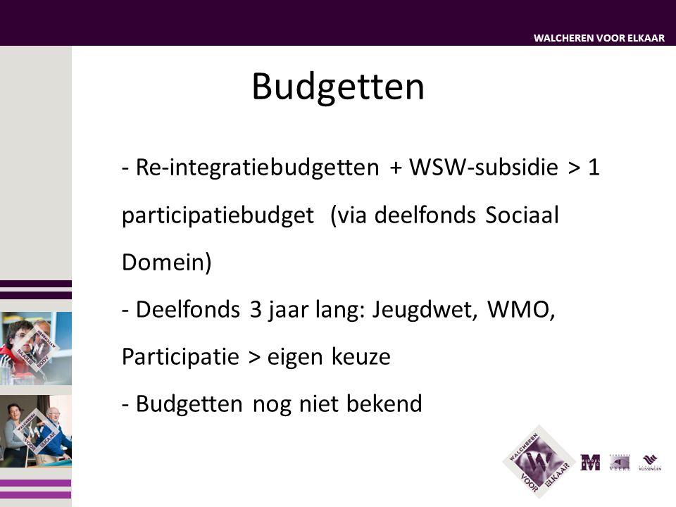 Budgetten Re-integratiebudgetten + WSW-subsidie > 1 participatiebudget (via deelfonds Sociaal Domein)