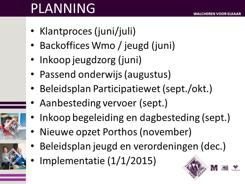 PLANNING Klantproces (juni/juli) Backoffices Wmo / jeugd (juni)