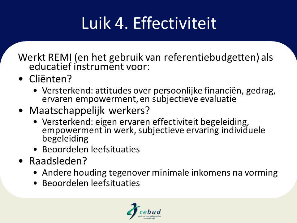 Luik 4. Effectiviteit Cliënten Maatschappelijk werkers Raadsleden