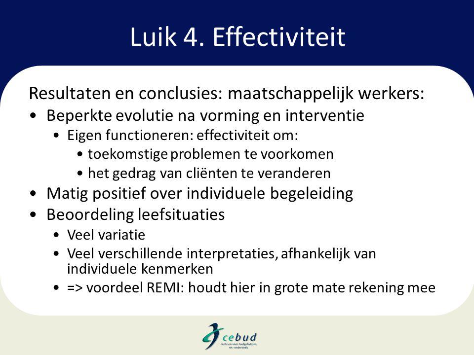 Luik 4. Effectiviteit Resultaten en conclusies: maatschappelijk werkers: Beperkte evolutie na vorming en interventie.