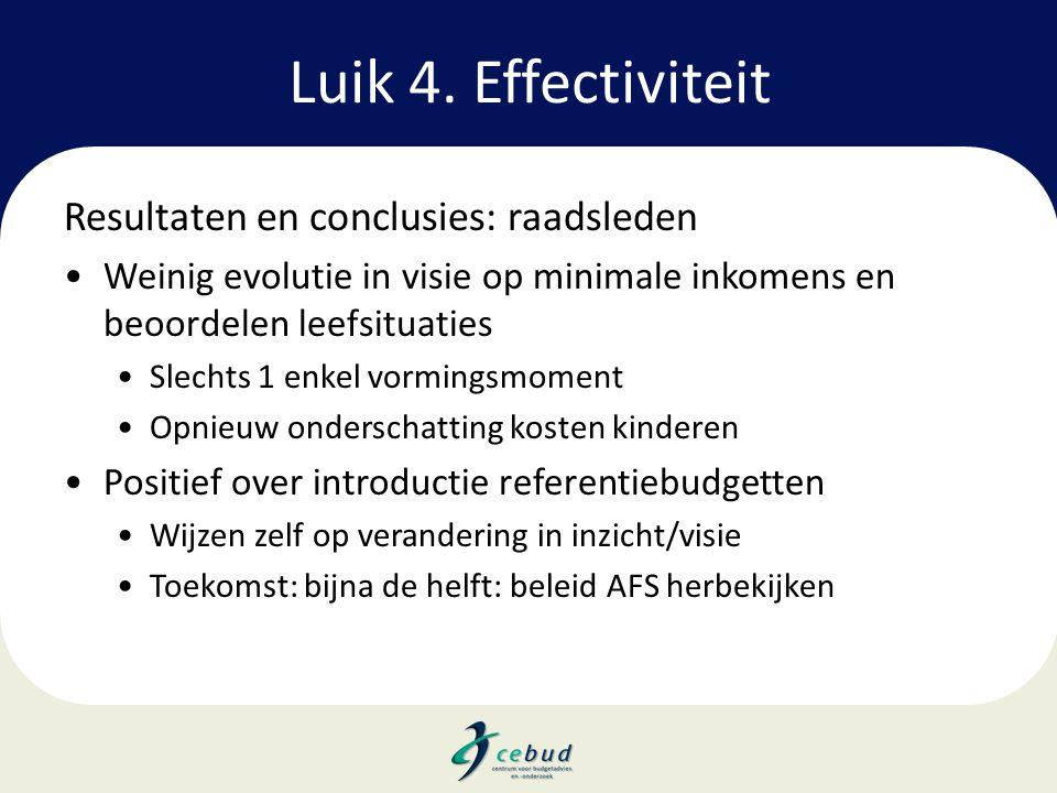 Luik 4. Effectiviteit Resultaten en conclusies: raadsleden