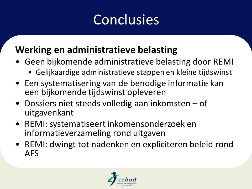Conclusies Werking en administratieve belasting