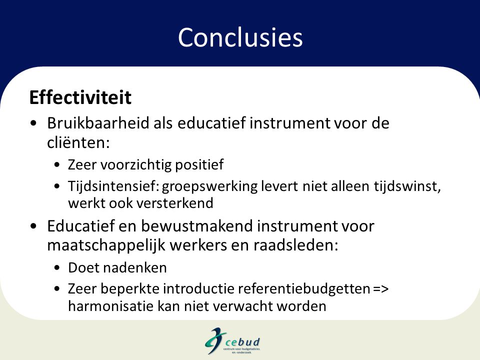 Conclusies Effectiviteit