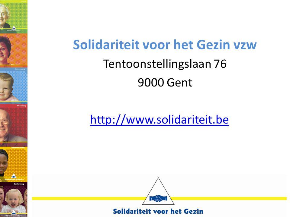 Solidariteit voor het Gezin vzw Tentoonstellingslaan 76 9000 Gent