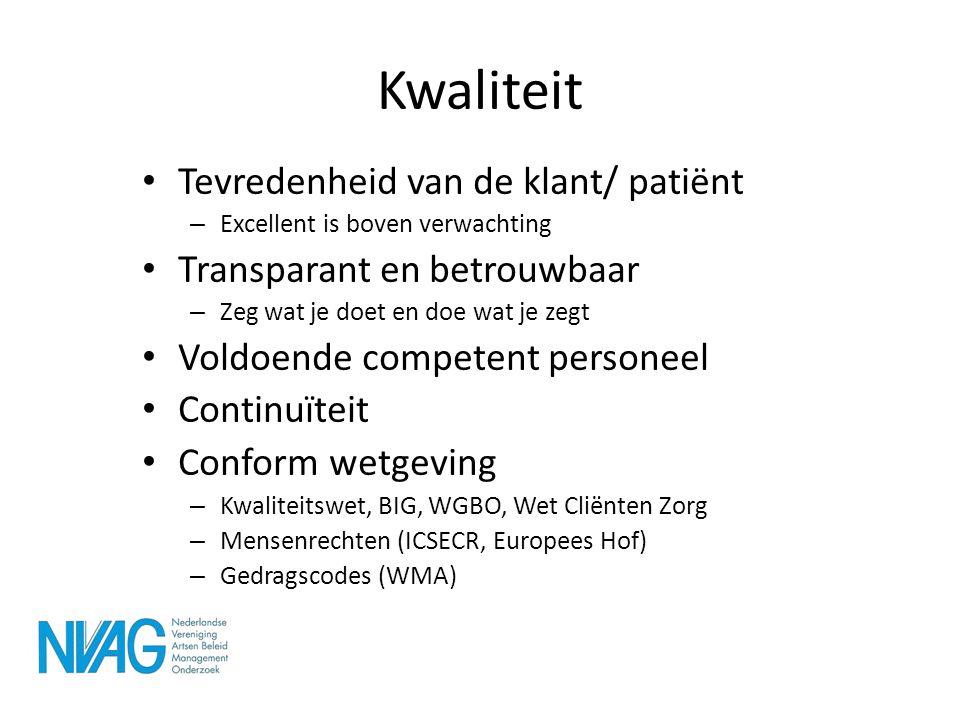 Kwaliteit Tevredenheid van de klant/ patiënt