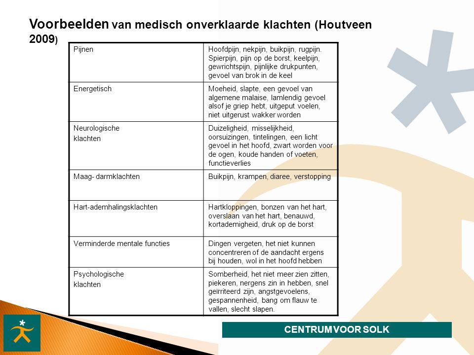 Voorbeelden van medisch onverklaarde klachten (Houtveen 2009)