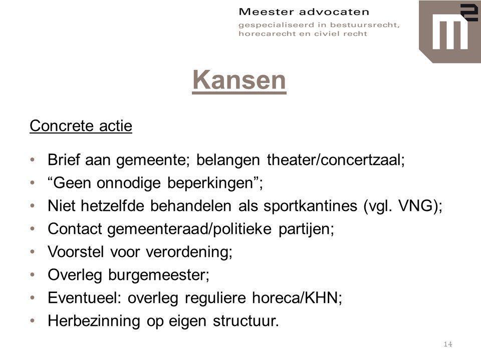 Kansen Concrete actie. Brief aan gemeente; belangen theater/concertzaal; Geen onnodige beperkingen ;