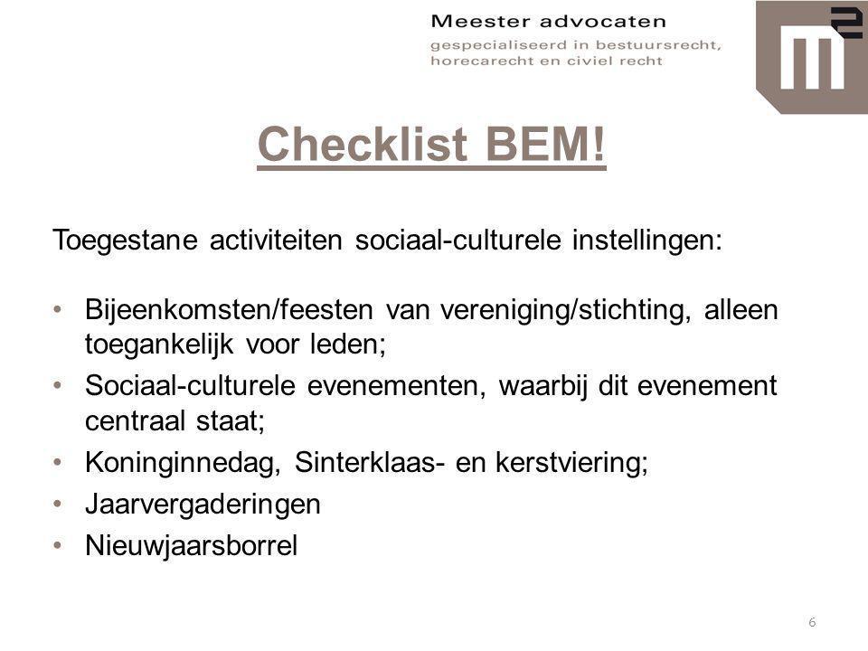 Checklist BEM! Toegestane activiteiten sociaal-culturele instellingen: