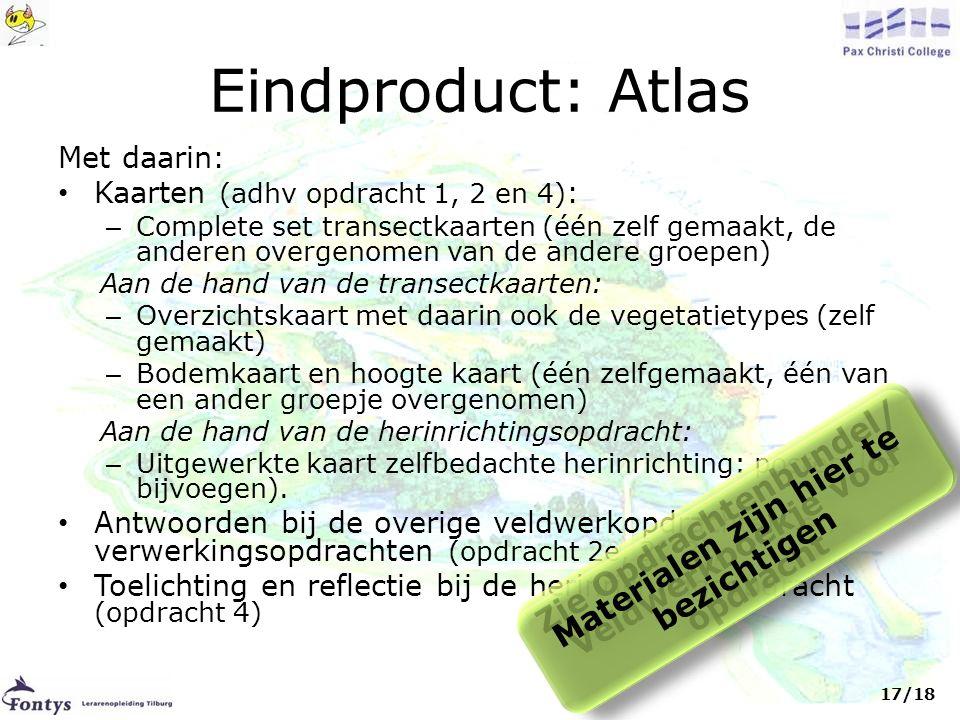 Eindproduct: Atlas Zie Opdrachtenbundel/ Veldwerkboekje voor opdracht