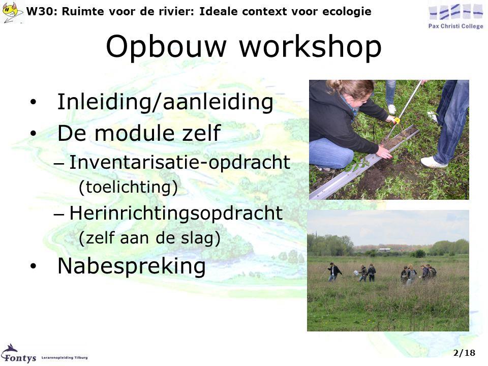 Opbouw workshop Inleiding/aanleiding De module zelf Nabespreking
